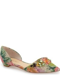 Green Print Leather Ballerina Shoes