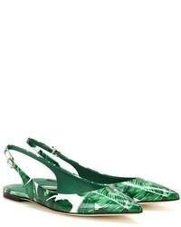 Dolce & Gabbana Printed Patent Leather Slingback Ballerinas
