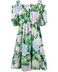 Dolce & Gabbana Off Shoulder Hydrangea Print Dress