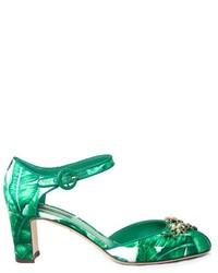 Dolce & Gabbana Banana Leaf Print Embellished Pumps