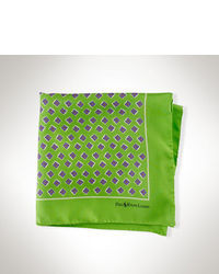 Green Print Silk Pocket Square