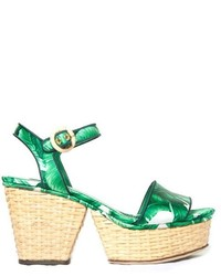 Dolce & Gabbana Banana Leaf Print Wicker Wedge Sandals