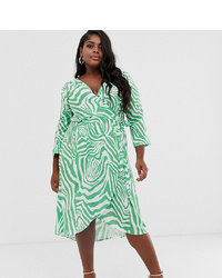 John Zack Plus Wrap Front Midi Skater Dress With Belt In Mint Zebra Print