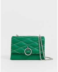 New Look Quilted Cross Body Bag In Green