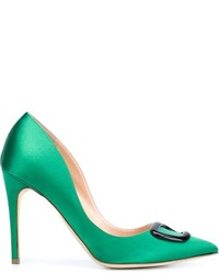 Green Satin Pumps