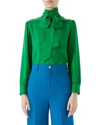 Green Silk Long Sleeve Blouse