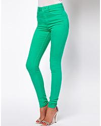 Ridley high waist ultra skinny jeans in emerald green green medium 49912