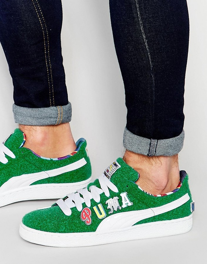 innovative design d5944 2c8ea £104, Puma X Dee And Ricky Basket Sneakers In Green 36008402