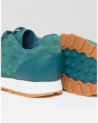 416af338c3922 ... Reebok Classic Leather Gum Sole Sneakers In Green Bd6014 ...