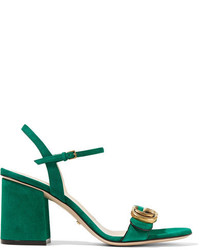 2505902a48e Women s Green Suede Sandals by Gucci