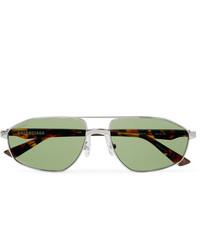 Balenciaga Aviator Style Silver Tone And Tortoiseshell Acetate Sunglasses