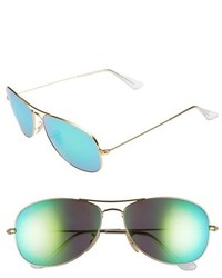 Ray-Ban New Classic 59mm Aviator Sunglasses Gold Blue Mirror