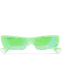Gucci Rectangle Frame Acetate Mirrored Sunglasses