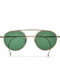 Mr Leight Rei S Round Frame Gold Tone Sunglasses