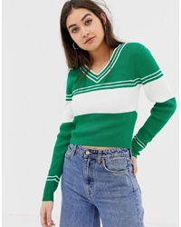 ASOS DESIGN V Neck Jumper With 70s Tipping