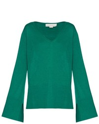 Stella McCartney V Neck Wool And Silk Blend Sweater