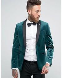 Asos Skinny Blazer In Green Velvet