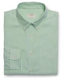 Green Vertical Striped Dress Shirt