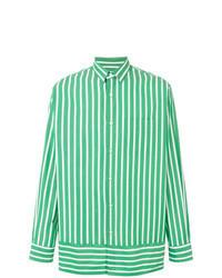 Green Vertical Striped Long Sleeve Shirt