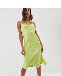 ASOS DESIGN Cami Midi Slip Dress In High Shine Satin With Py Back