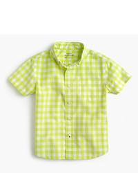 J.Crew Kids Short Sleeve Secret Wash Shirt In Bright Gingham