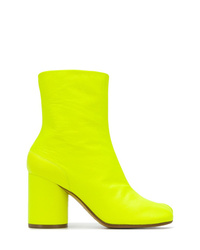 Green-Yellow Leather Ankle Boots