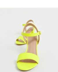 New Look Block Heel In Neon Yellow