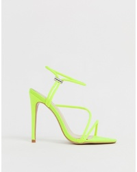 SIMMI Shoes Simmi London Cassie Neon Yellow Toggle Detail Heeled Sandals