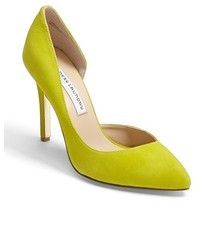 Green-Yellow Leather Pumps