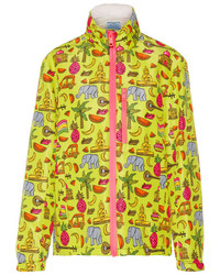 Prada Hooded Printed Silk Faille Jacket Yellow