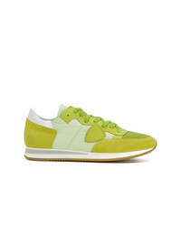 Green-Yellow Suede Low Top Sneakers