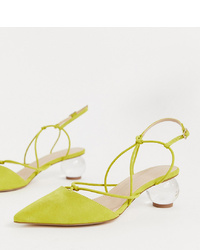 ASOS DESIGN Wide Fit Sunset Knotted Ball Heels In Chartreuse