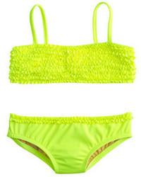J.Crew Girls Tiny Frills Bikini Set In Neon
