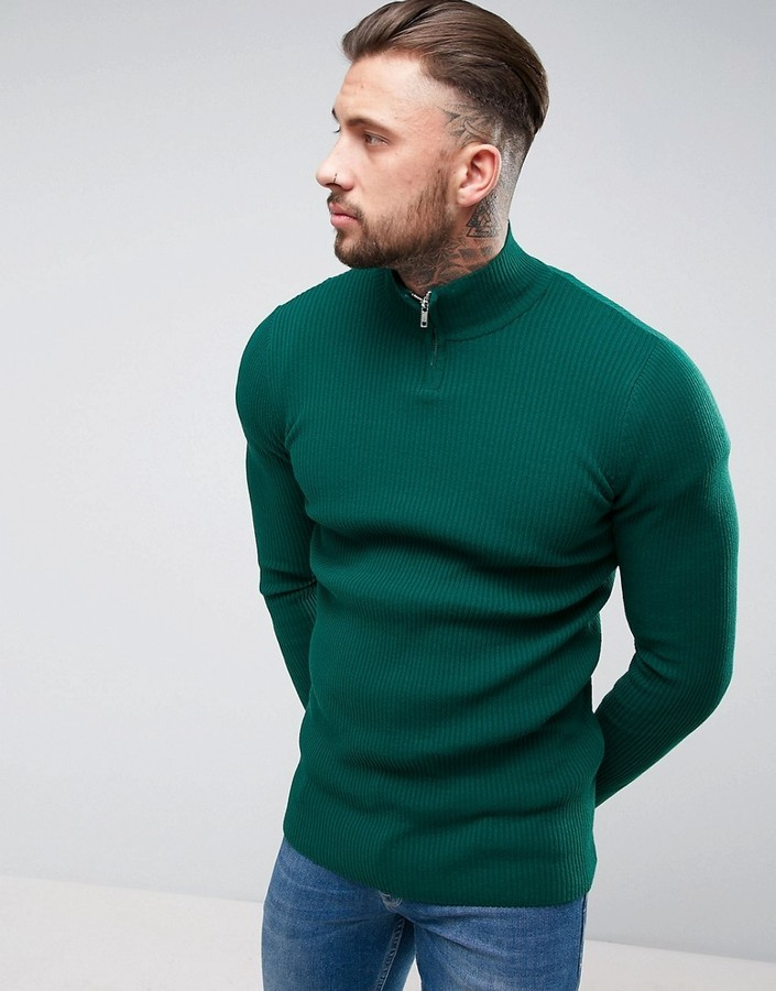 Men's Fashion › Sweaters › Zip Neck Sweaters › Green Zip Neck Sweaters Asos  Longline Half Zip Ribbed Sweater In Green