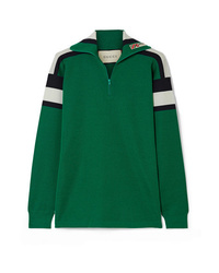 Gucci Embroidered Striped Wool Silk And Cashmere Blend Sweater
