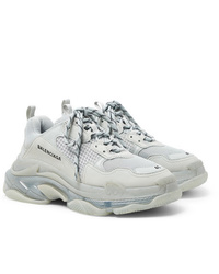 Balenciaga Triple S Clear Sole Mesh Nubuck And Leather Sneakers