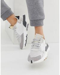 adidas Originals White And Grey Nite Jogger Trainers