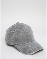 Distressed baseball cap in charcoal medium 808542
