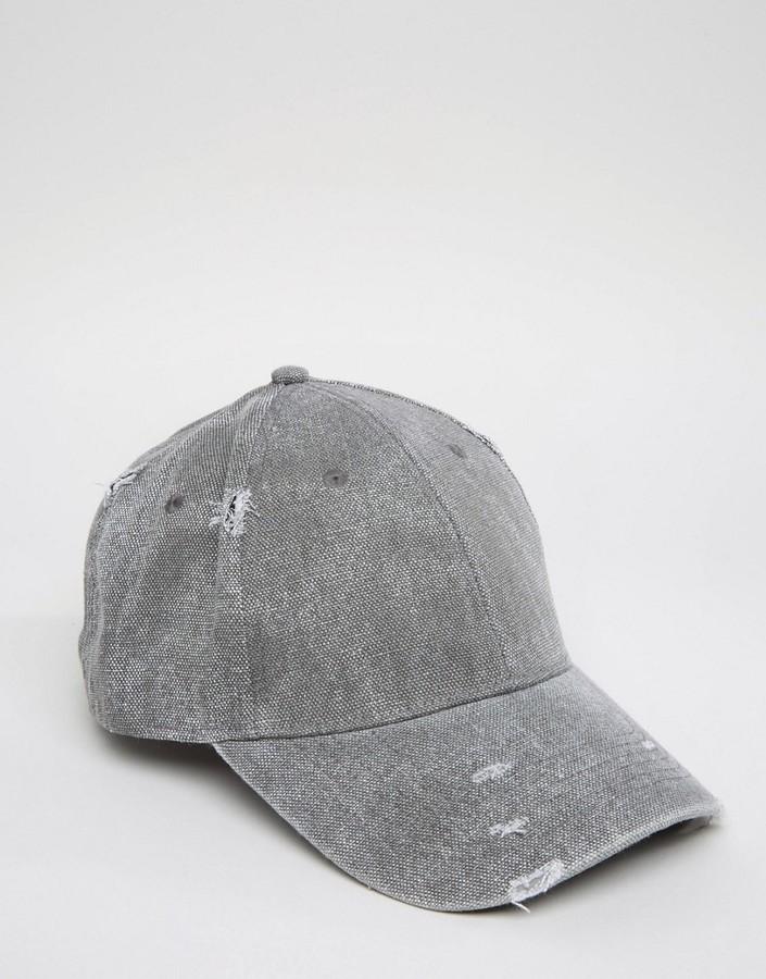 ... Asos Distressed Baseball Cap In Charcoal ... 68ef6dba23b