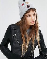 Miss Selfridge Badge Beanie Hat