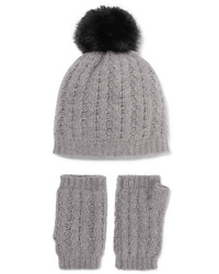 Portolano Cable Knit Cashmere Beanie And Fingerless Gloves Set