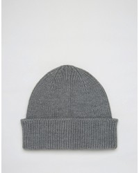 Asos Fisherman Beanie In Gray