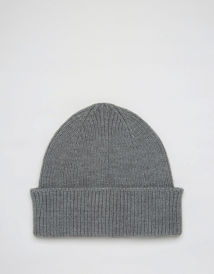... Asos Fisherman Beanie In Gray ... 543450aa425
