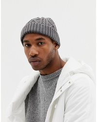 ASOS DESIGN Fisherman Beanie In Grey Cable Knit