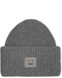 Acne Studios Pansy Appliqud Ribbed Wool Beanie Gray