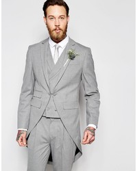 Asos Brand Wedding Skinny Morning Suit Jacket With Tails In Gray