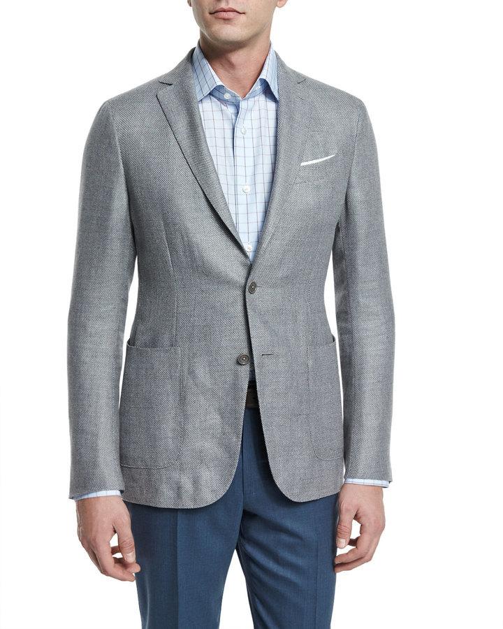 6c2350c4 £1,904.74, Ermenegildo Zegna Capri Textured Basketweave Two Button Jacket  Light Gray