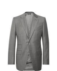 Tom Ford Grey Oconnor Slim Fit Super 110s Wool Sharkskin Suit Jacket