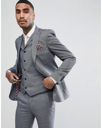 RUDIE Light Grey Jacquard Skinny Fit Suit Jacket