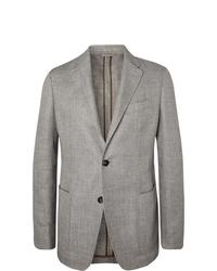 Ermenegildo Zegna Light Grey Unstructured Mlange Linen Alpaca And Silk Blend Blazer